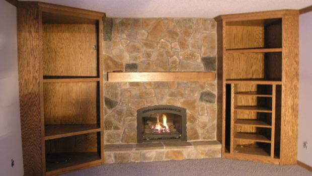 Flagstone Fireplace Custom Wood Cabinets
