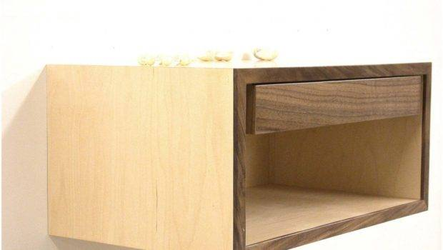 Floating Bedside Shelf Night Stand Drawers White