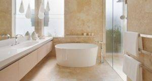 Floor Ceiling Travertine Brings Calm Elegance Bathroom