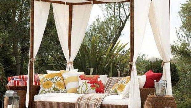 Floral Pattern Sofa Cushions Outdoor Canopy Bed Leafy Greenery