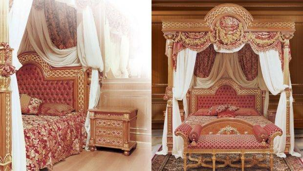 Four Poster Bed Canopy Beds Decorated Wood