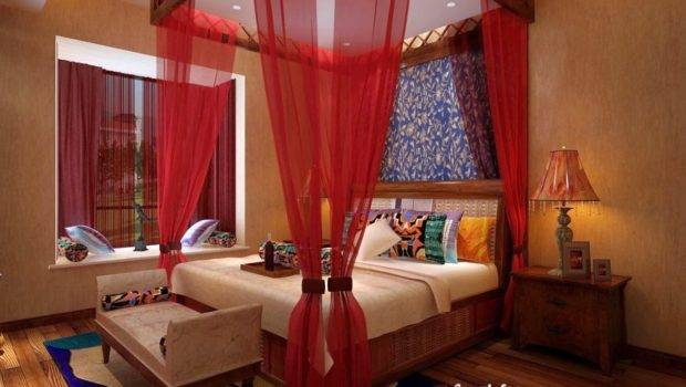 Four Poster Bed Canopy Romantic Bedroom Red