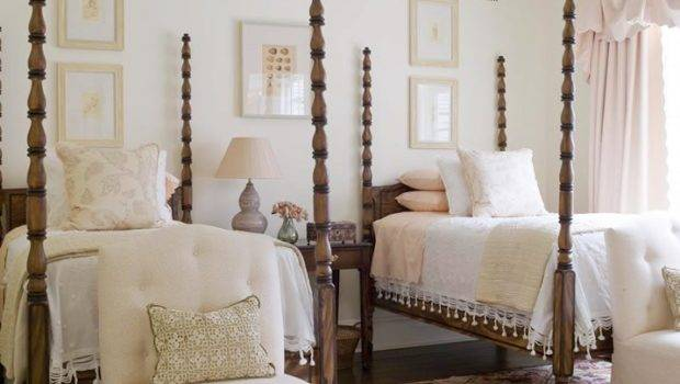 Four Poster Twin Beds Traditional Guest Room Above