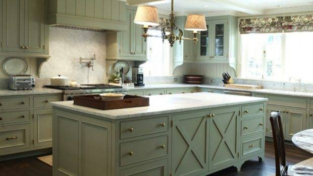 French Country Kitchen Design Green Gray Cabinets