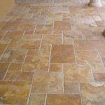 French Pattern Brushed Chiseled Gold Travertine Tiles