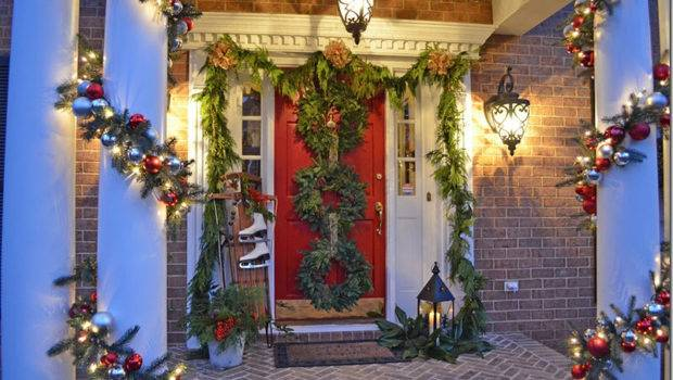 Front Porch Decorated Christmas Triple Wreaths Door