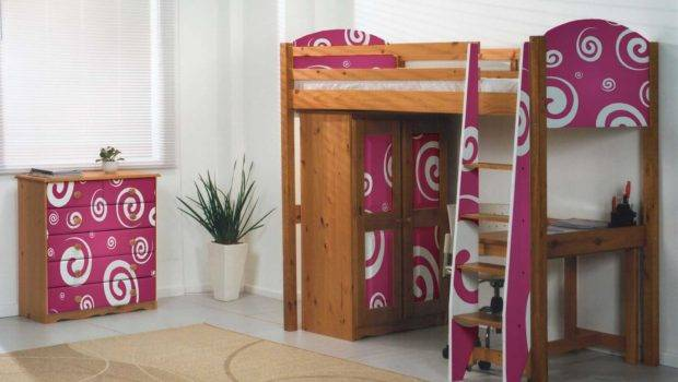 Funky Pink Pine High Sleeper Bed Beds