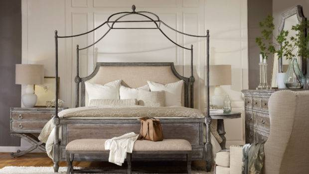 Furniture True Vintage King Fabric Upholstered Canopy Bed