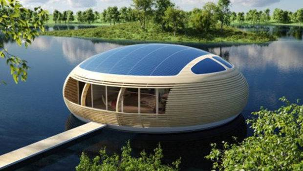 Future Technology Concept Eco Friendly Floating House