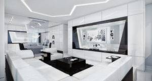 Futuristic Black White Apartment