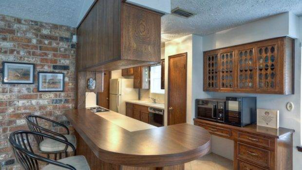 Galley Kitchen Has Built Desk Convenient Breakfast Bar
