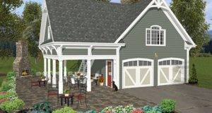 Garage Loft Plans Two Car Plan Covered Porch Design