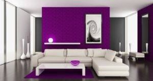 Glamorous Modern Living Room Applying Purple Paint Ideas