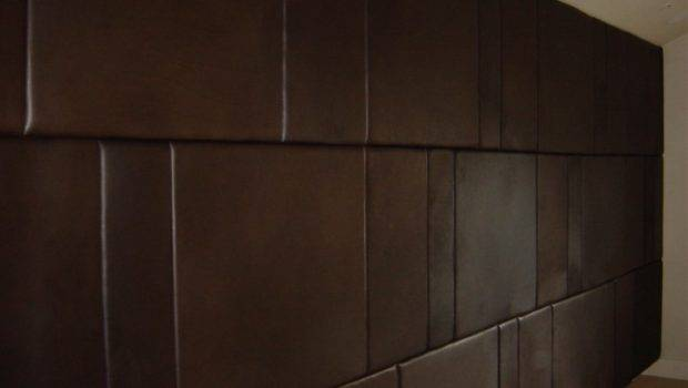 Glamour Padded Wall Panels Bedroom Brown Leather