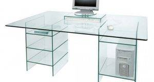 Glass Computer Desk Shelves Clear Table Minimalist