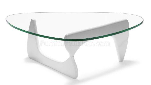 Glass Top Modern Coffee Table White Black Natural Base