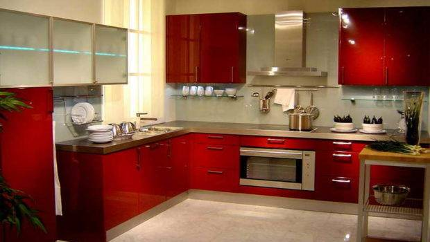 Good Colors Paint Kitchen Shiny Red Cabinet