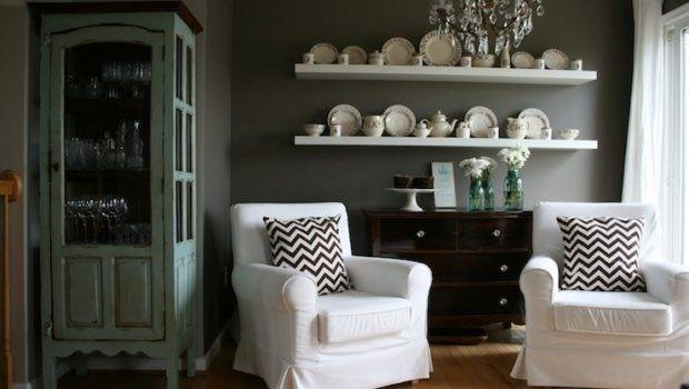 Gorgeous Dining Room Dark Gray Walls Paint Color Ikea Lack