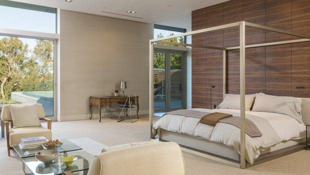 Gorgeous Master Bedroom Suite Furnished Modern Four Poster Bed