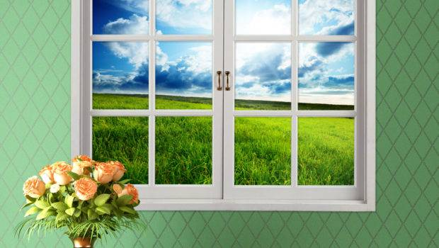 Grassland Artificial Window Blue Sky Wall
