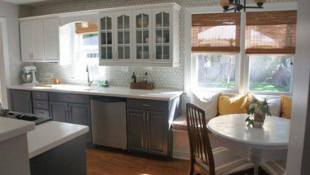 Gray White Kitchen Makeover Painted Cabinets Lovelee