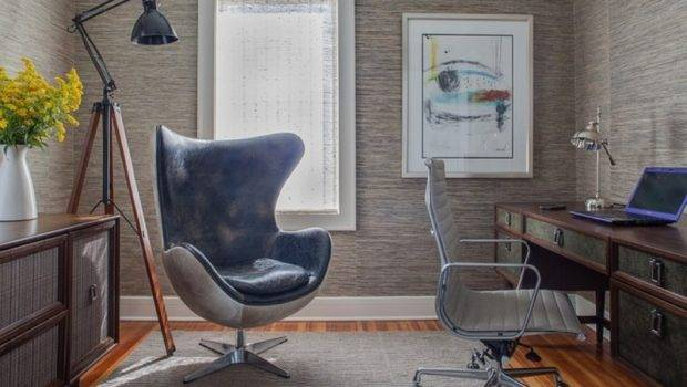 Great Home Office Decor Ideas White Swivel Chair Wooden