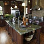Green Kitchen Cherry Cabinets Granite Countertops Painted