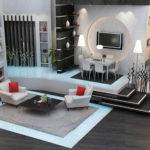 Grey Black Living Room Interior Architecture Renderings