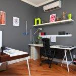 Grey Wall Color Small Home Office Ideas Sleek White Desk
