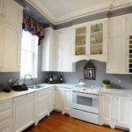 Grey Wall Kitchen Coupled White Cabinets