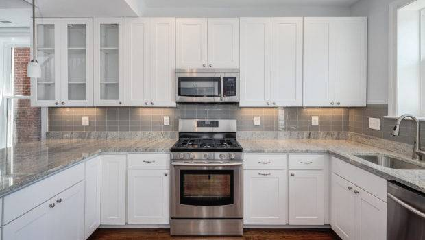 Grey Wall Kitchen Matched White Cabinet