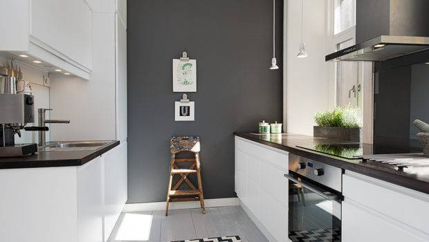 Grey Wall Mixes Very Well Brick Modern Kitchen