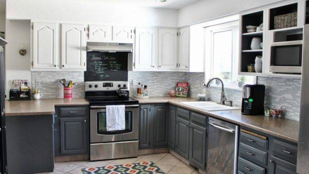 Grey White Kitchen Makeover Painted