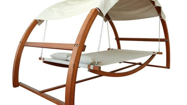 Hammock Style Outdoor Wooden Swing Bed Canopy
