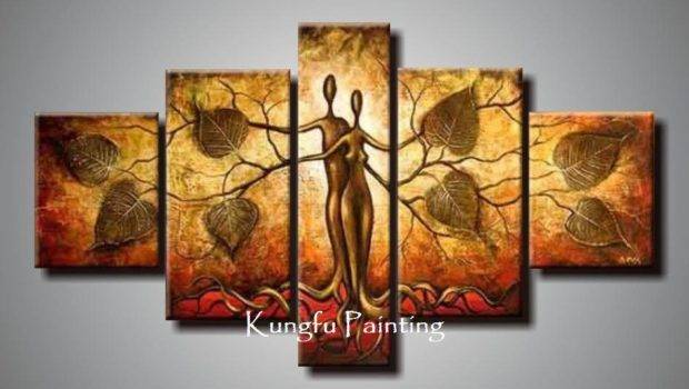 Hand Painted Discount Abstract Panel Canvas Art Living Room