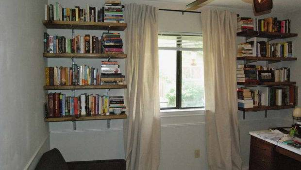 Hanging Bookshelves White Drapery Rustic