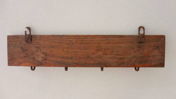 Hanging Towel Rack Wooden Metal Plaques French Space Saving