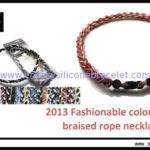 Health Balance Colorful Magnetic Braided Rope Necklace Titanium