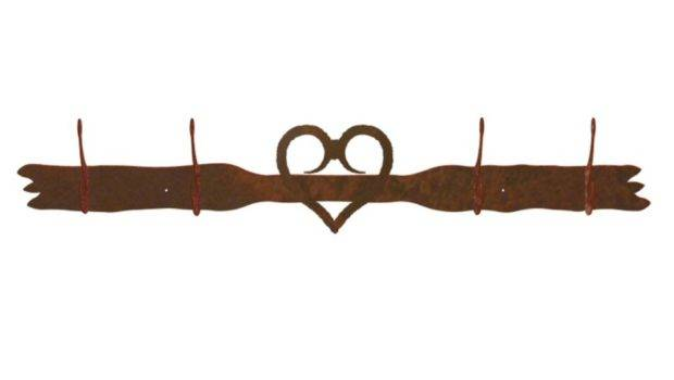 Heart Four Hook Metal Wall Coat Rack