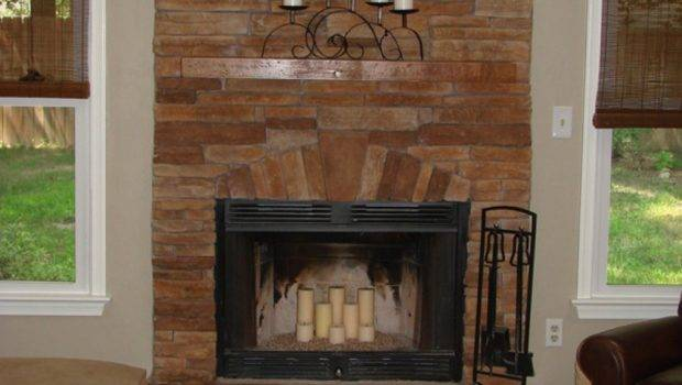 Here Beautiful Stacked Stone Fireplace Brown Stones