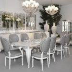 High Gloss White Silver Leaf Carved Dining Table