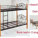 Home Bunk Bed Metal Timber Frame Single