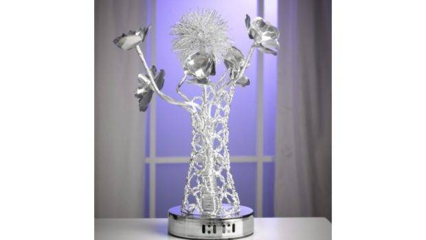 Home Furniture Small Silver Wire Flowers Vase Lamp