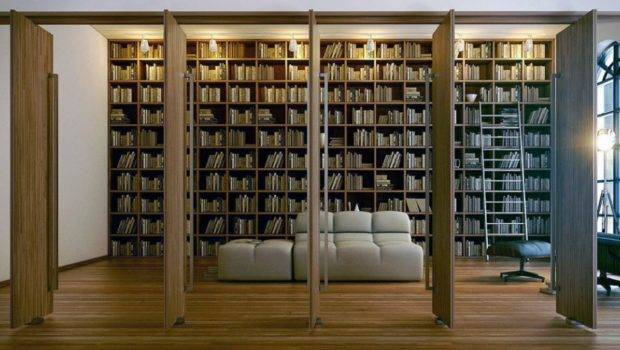 Home Library Design Classic Theme Mood Wooden Floor White Wall