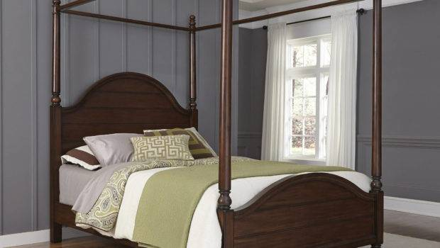 Home Styles Bedford Queen Canopy Bed Black Walmart