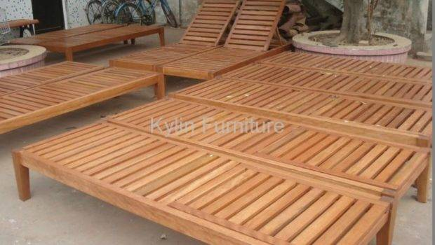 Hotel Poolside Solid Wood Sun Bed Kylin China Manufacturer