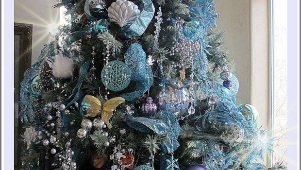 Icy Aqua Splendor New Christmas Tree Decor Purple
