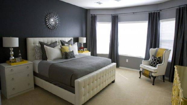 Ideas Dark Grey Wall Color Modern Small Home Bedroom Design