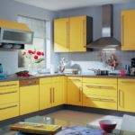 Ideas Design Combination Yellow Grey Color Kitchen