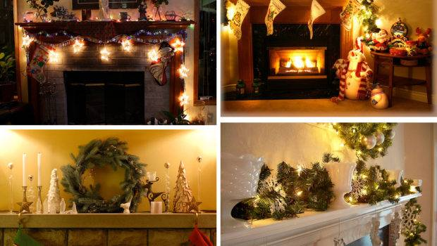 Ideas Pinecone Christmas Decorations Fireplace Decorated